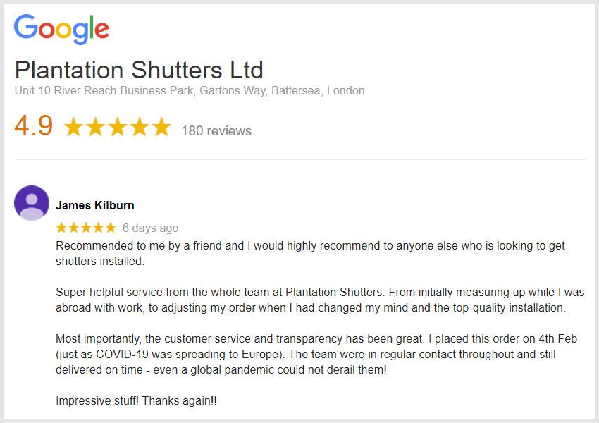 Google Reviews by Plantation Shutters Ltd