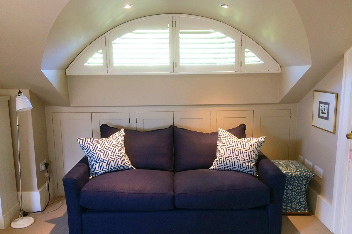 Arched shutters in wimbledon plantation shutters for Should plantation shutters match trim
