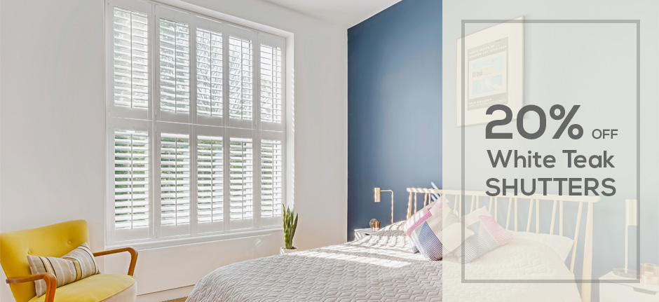 20% Off White Teak Shutters by Plantation Shutters Ltd