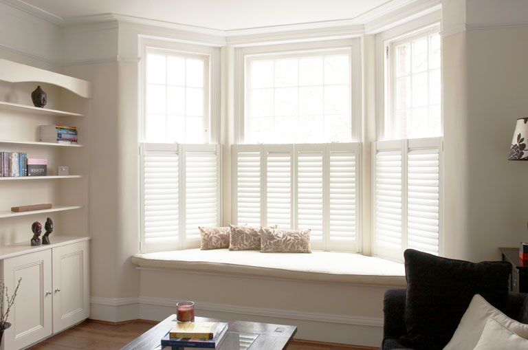 White Teak Shutters for Bay Windows