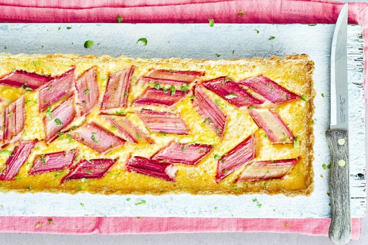 Rubarb Lime Ginger Custard Tart Delicious Magazine