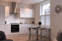 Cafe Style Shutters in the Kitchen and Dining Room