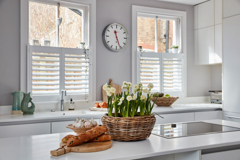 Cafe Style Shutters for Sash Windows by Plantation Shutters Ltd